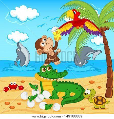 animals found in eggs crocodile egg parrot - vector illustration, eps