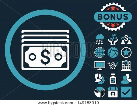 Dollar Banknotes icon with bonus pictures. Vector illustration style is flat iconic bicolor symbols blue and white colors dark blue background.