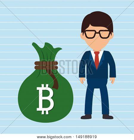 person man bit coin web vector illustration eps 10