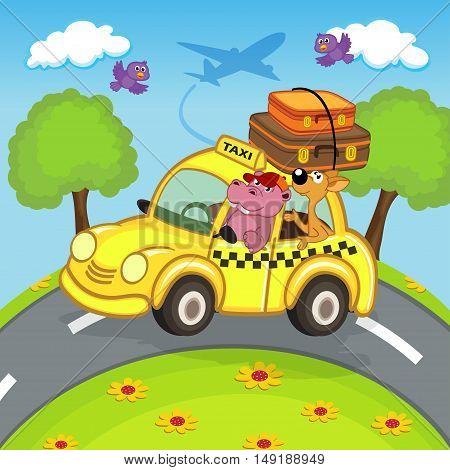animals traveling in taxi - vector illustration, eps