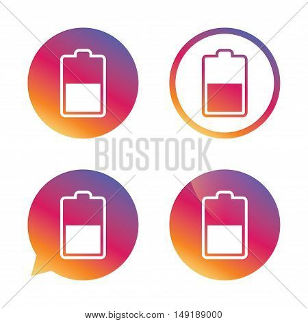 Battery half level sign icon. Low electricity symbol. Gradient buttons with flat icon. Speech bubble sign. Vector