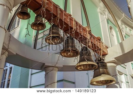 BELGOROD RUSSIA - September 10 2016: Bell tower under the vault of the dome in the Belgorod Orthodox metropolitan.