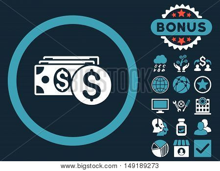 Dollar Cash icon with bonus images. Vector illustration style is flat iconic bicolor symbols blue and white colors dark blue background.