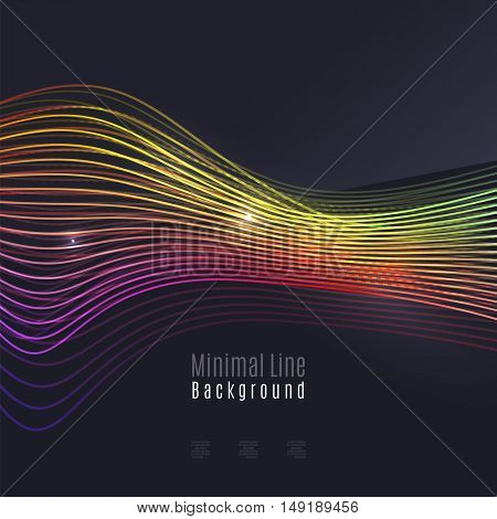Smoke colorful vector wave on dark background with glowing and effects