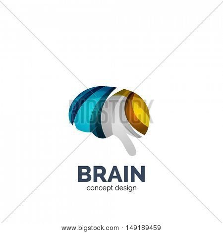 Vector brain logo template, elegant geometric design