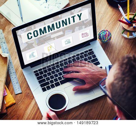 Community Online Communication Connection Concept