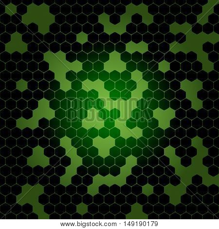 Vector abstract dark green gradient background with hexagon shapes and holes.