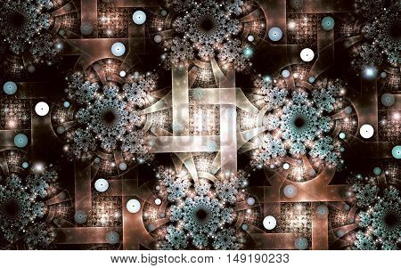 Fractal image on a dark background colorful lines intricately interwoven into a beautiful pattern of snowflakes.