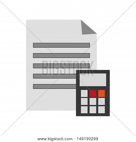 flat design paper document and calculator  icon vector illustration