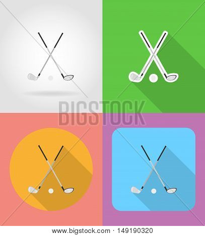 golf club and ball flat icons vector illustration isolated on background