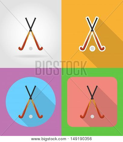 field hockey sport equipment flat icons vector illustration isolated on background