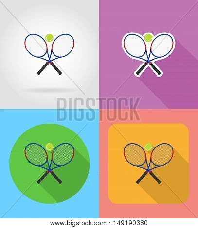 tennis racket and ball flat icons vector illustration isolated on background