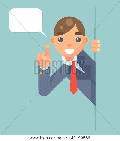 Support Help Looking Out Corner Idea Cartoon Businessman Character Solution Flat Vector Illustration