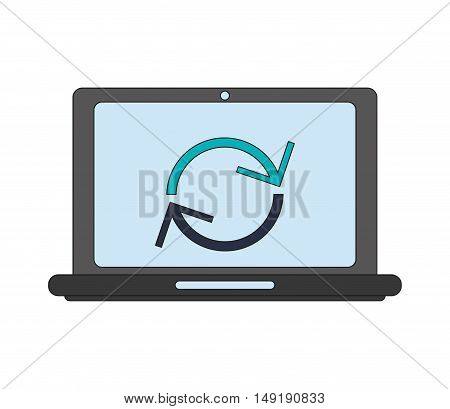 flat design computer and reload  icon vector illustration