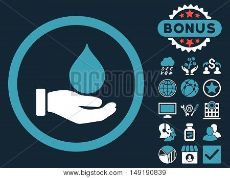 Donate Blood icon with bonus pictures. Vector illustration style is flat iconic bicolor symbols blue and white colors dark blue background.