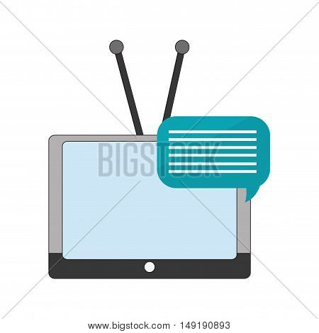 flat design tv with antenna and conversation bubble  icon vector illustration