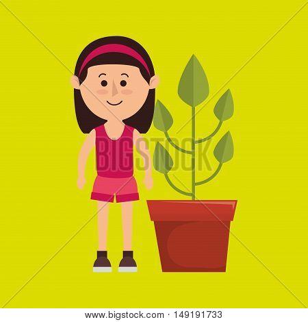 character pot plant vector illustration eps 10