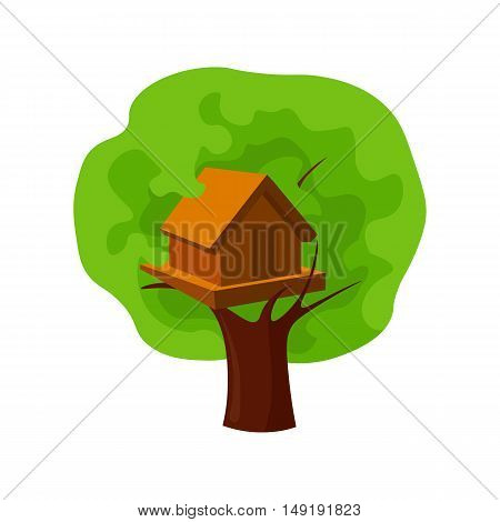 Tree house icon in cartoon style isolated on white background. Play garden symbol vector illustration.