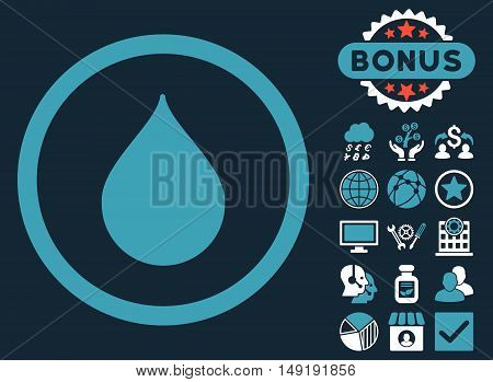 Drop icon with bonus symbols. Vector illustration style is flat iconic bicolor symbols blue and white colors dark blue background.