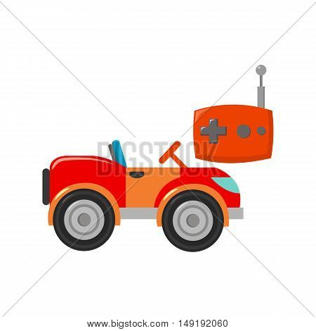 RC car icon in cartoon style isolated on white background. Play garden symbol vector illustration.