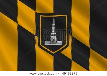 Flag of Baltimore city in Maryland state of United States. 3D illustration