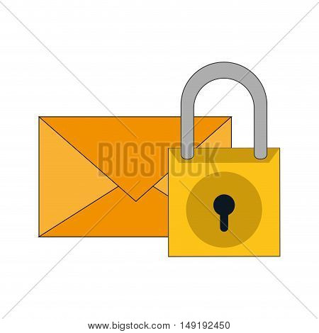 flat design message envelope and safety lock icon vector illustration
