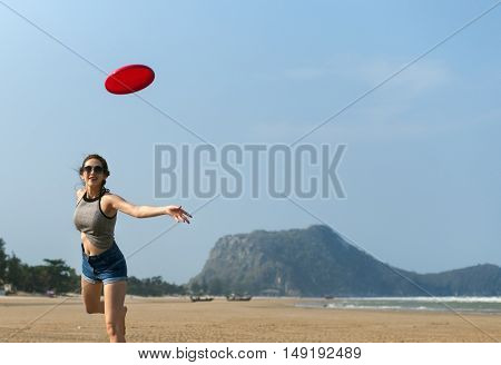 Girl Beach Summer Holiday Vacation Playing Concept