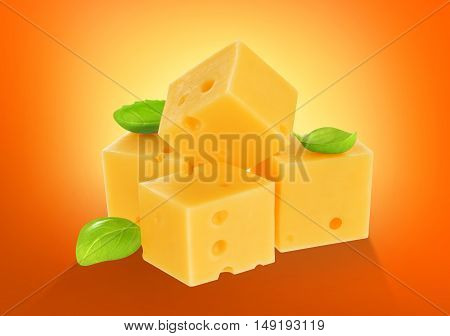 Piece of cheese with basil leaves isolated