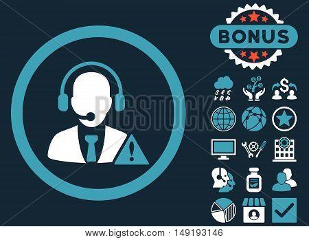 Emergency Service icon with bonus symbols. Vector illustration style is flat iconic bicolor symbols blue and white colors dark blue background.