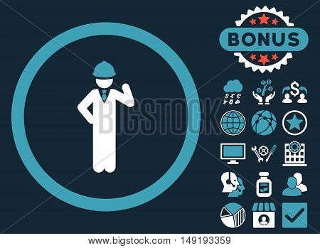 Engineer icon with bonus pictogram. Vector illustration style is flat iconic bicolor symbols blue and white colors dark blue background.