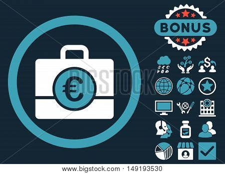 Euro Accounting Case icon with bonus pictures. Vector illustration style is flat iconic bicolor symbols blue and white colors dark blue background.