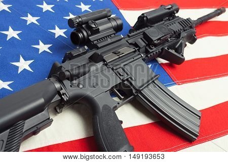 Ruffled National Flag With Machine Gun Over It Series - United States
