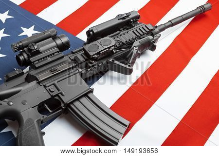 Ruffled National Flag With Machine Gun Over It Series - United States Of America