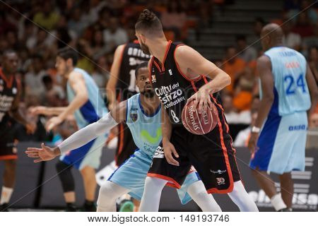 VALENCIA, SPAIN - SEPTEMBER 25th: Diot with ball during match between Valencia Basket and Estudiantes at Fonteta Stadium on September 25, 2016 in Valencia, Spain