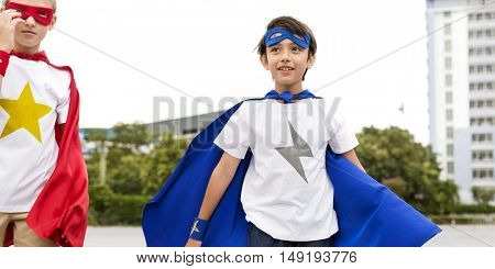 Superheroes Boys Running Competition Exercise Concept