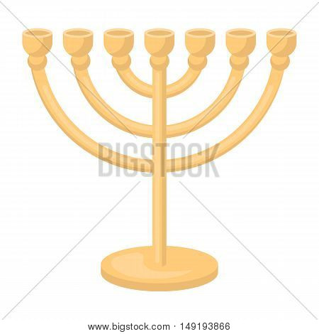 Menorah icon in cartoon style isolated on white background. Religion symbol vector illustration.