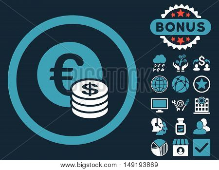 Euro and Dollar Coins icon with bonus elements. Vector illustration style is flat iconic bicolor symbols blue and white colors dark blue background.