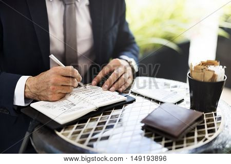 Business Plan Businessman Coffee Ideas Strategy Concept