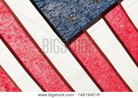 Series Of Ruffled Flags Against Sun - United States