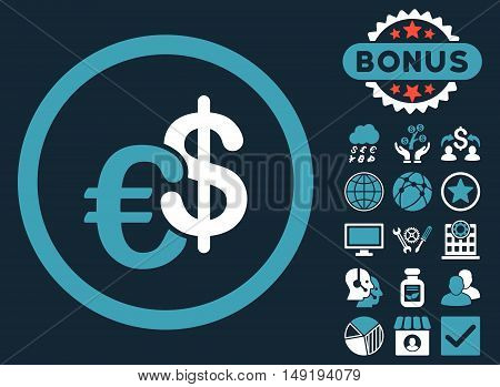 Euro and Dollar Currency icon with bonus symbols. Vector illustration style is flat iconic bicolor symbols blue and white colors dark blue background.