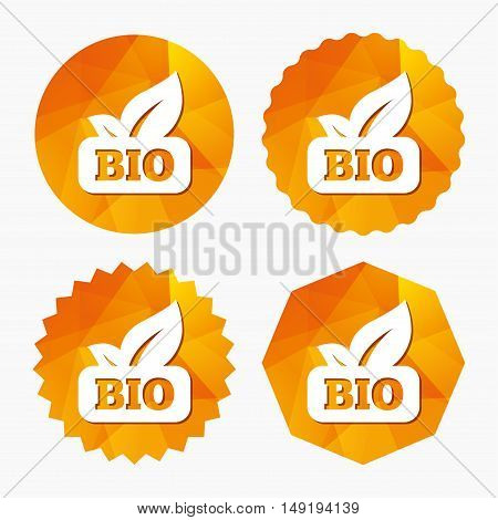 Bio product sign icon. Leaf symbol. Triangular low poly buttons with flat icon. Vector