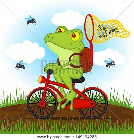 frog on a bike catches flies - vector illustration, eps
