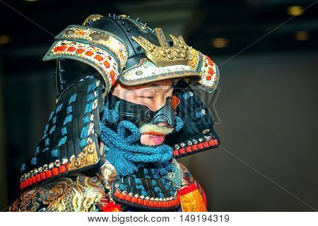 Moscow, Russia - September 18, 2016: Samurai In Ancient Armor During The Performance