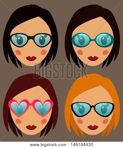 Woman in glasses vector set illustration. Woman web media element collection