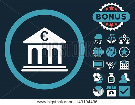 Euro Bank icon with bonus images. Vector illustration style is flat iconic bicolor symbols blue and white colors dark blue background.