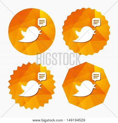Bird icon. Social media sign. Speech bubble chat symbol. Triangular low poly buttons with flat icon. Vector