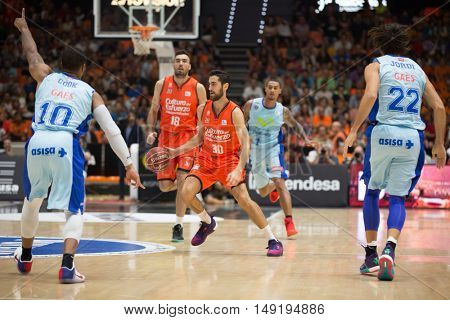 VALENCIA, SPAIN - SEPTEMBER 25th: Sastre with ball during match between Valencia Basket and Estudiantes at Fonteta Stadium on September 25, 2016 in Valencia, Spain