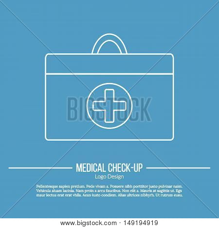 Doctor bag with medical cross in circle. Single logo in modern thin line style isolated on blue background. Outline medical symbol. Simple mono linear pictogram. Stroke vector logotype template.