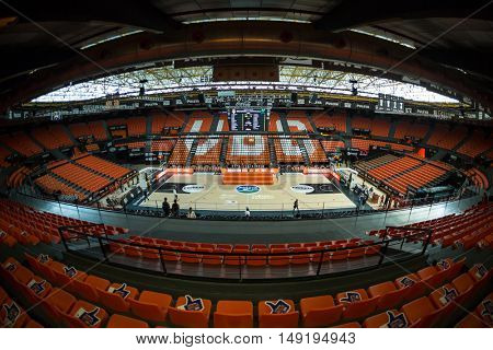 VALENCIA, SPAIN - SEPTEMBER 25th: Pabellon Fuente San Luis Stadium during match between Valencia Basket and Estudiantes at Fonteta Stadium on September 25, 2016 in Valencia, Spain