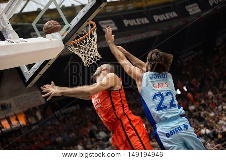 VALENCIA, SPAIN - SEPTEMBER 25th: Oriola (L), (22) Jordi during match between Valencia Basket and Estudiantes at Fonteta Stadium on September 25, 2016 in Valencia, Spain